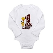 First Birthday Giraffe Long Sleeve Infant Bodysuit