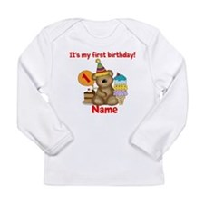 First Birthday Bear Long Sleeve Infant T-Shirt