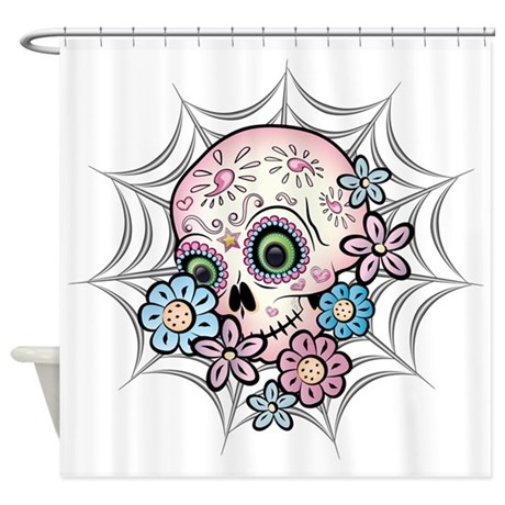 sweet sugar skull shower curtain by bonesofsociety. Black Bedroom Furniture Sets. Home Design Ideas