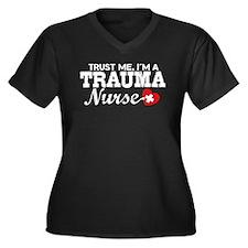 Trauma Nurse Women's Plus Size V-Neck Dark T-Shirt