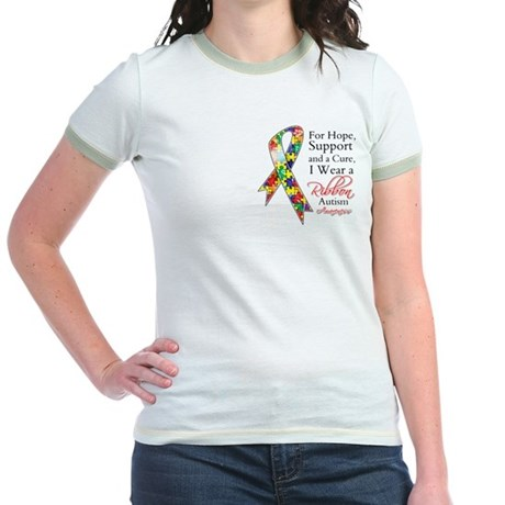 For Hope Autism Ribbon Jr. Ringer T-Shirt