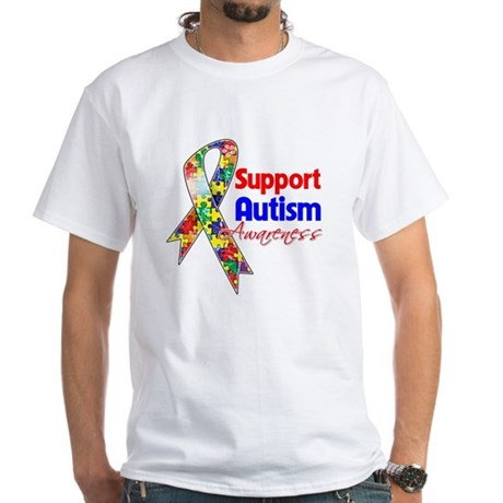 Support Autism Awareness White T-Shirt
