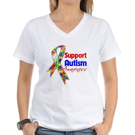 Support Autism Awareness Women's V-Neck T-Shirt