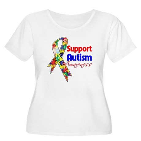 Support Autism Awareness Women's Plus Size Scoop N