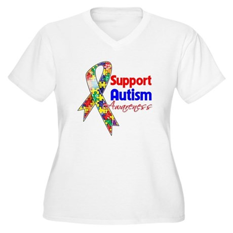 Support Autism Awareness Women's Plus Size V-Neck