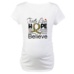 Faith Love Hope Autism Maternity T-Shirt