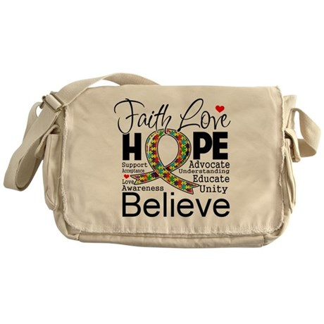 Faith Love Hope Autism Messenger Bag