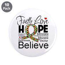 "Faith Love Hope Autism 3.5"" Button (10 pack)"