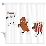 Soda Hotdog Popcorn Shower Curtain