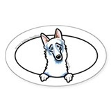 White German Shepherd Dog Peeking Bumper Decal