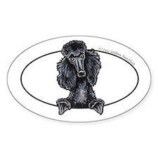 Black Standard Poodle Peeking Bumper Decal