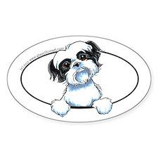 Black White Shih Tzu Peeking Bumper Decal