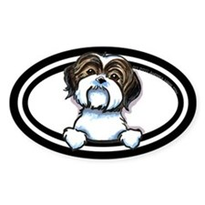 Brown White Shih Tzu Peeking Bumper Bumper Stickers