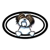 Brown White Shih Tzu Peeking Bumper Decal