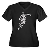 Rugby Player Shape Women's Plus Size V-Neck Dark T