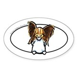 Papillon Peeking Bumper Decal