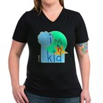 OYOOS i'm a kid design Women's V-Neck Dark T-Shirt