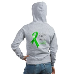 Hope Cure Green Ribbon Women's Zip Hoodie