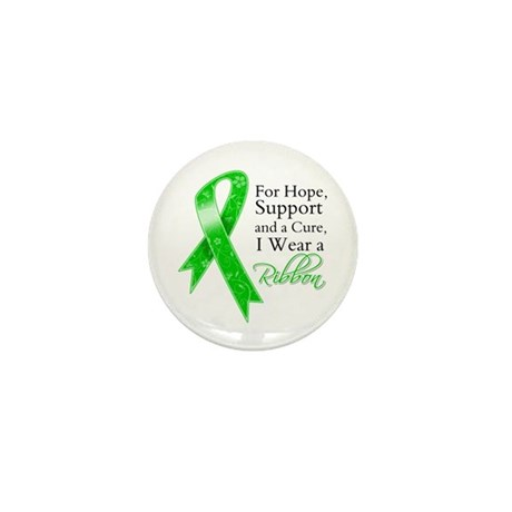 Hope Cure Green Ribbon Mini Button (100 pack)