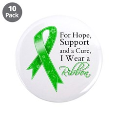 "Hope Cure Green Ribbon 3.5"" Button (10 pack)"