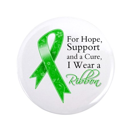 "Hope Cure Green Ribbon 3.5"" Button (100 pack)"