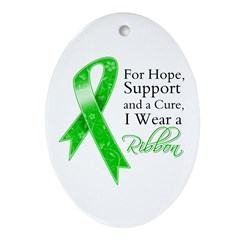 Hope Cure Green Ribbon Ornament (Oval)