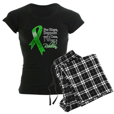 Hope Cure Green Ribbon Women's Dark Pajamas