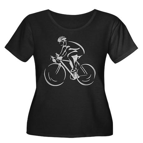Bicycling Women's Plus Size Scoop Neck Dark T-Shir