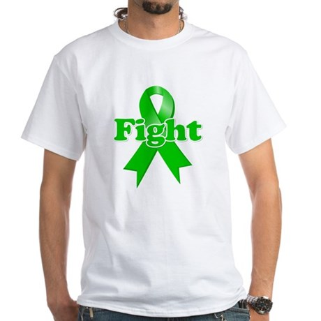 Green Ribbon FIGHT White T-Shirt