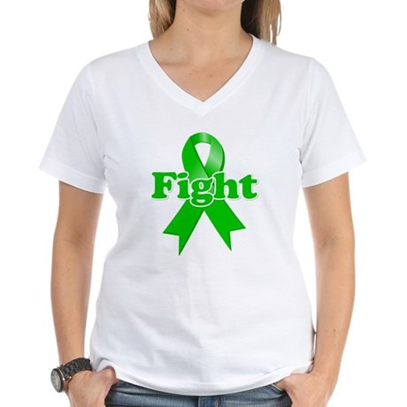 Green Ribbon FIGHT Women's V-Neck T-Shirt