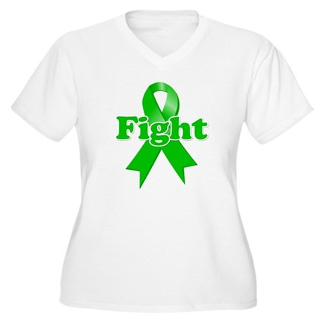 Green Ribbon FIGHT Women's Plus Size V-Neck T-Shir