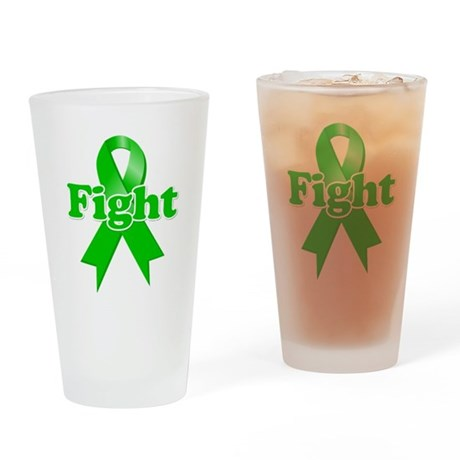 Green Ribbon FIGHT Drinking Glass