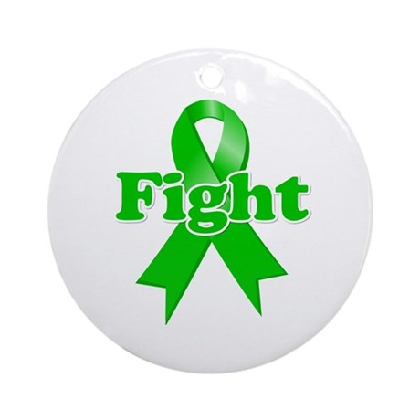 Green Ribbon FIGHT Ornament (Round)