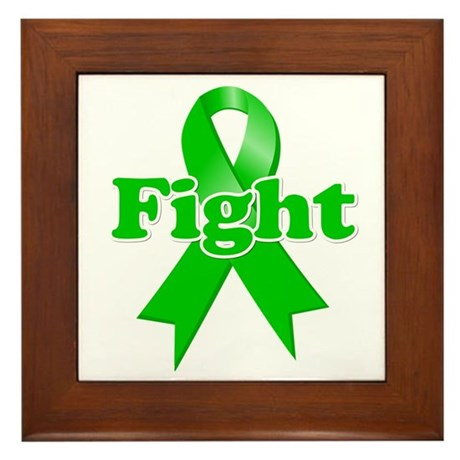 Green Ribbon FIGHT Framed Tile