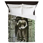 Te Prohm Temple Wall Carvings Queen Duvet