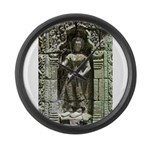 Te Prohm Temple Wall Carvings Large Wall Clock