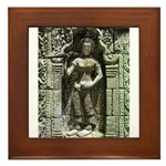 Te Prohm Temple Wall Carvings Framed Tile