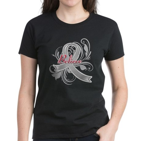 Brain Cancer Believe Women's Dark T-Shirt