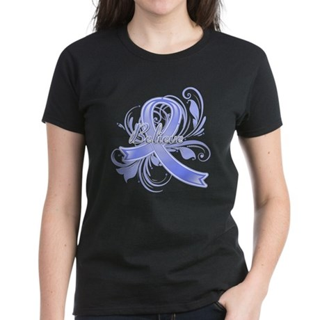 Esophageal Cancer Believe Women's Dark T-Shirt