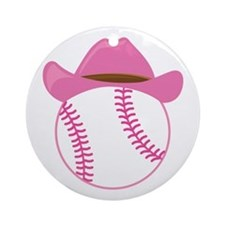 Softball Cowgirl Gift Ornament (Round)