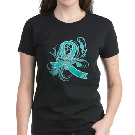 Ovarian Cancer Believe Women's Dark T-Shirt