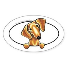 Smooth Red Dachshund Peeking Bumper Decal