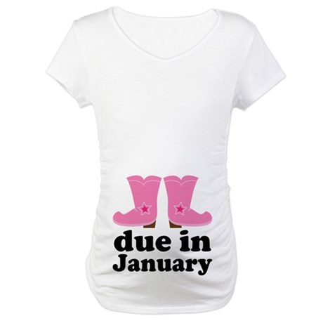 January Due Date Cowgirl Maternity T-Shirt
