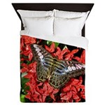 Butterfly on Red Flowers Queen Duvet