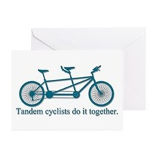Tandem Cyclists Do It Together Greeting Cards (Pk