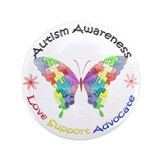 Autism Awareness Butterfly 3.5&quot; Button
