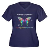 Autism Awareness Butterfly Women's Plus Size V-Nec
