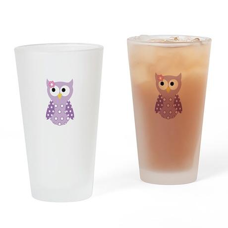 Purple Owl Drinking Glass