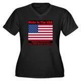 Made In The USA Women's Plus Size V-Neck Dark T-Sh