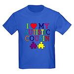 I Love My Autistic Cousin Kids Dark T-Shirt